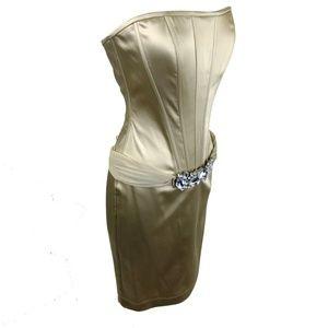 Nicole Bakti Gold Cocktail Short Dress Bustier